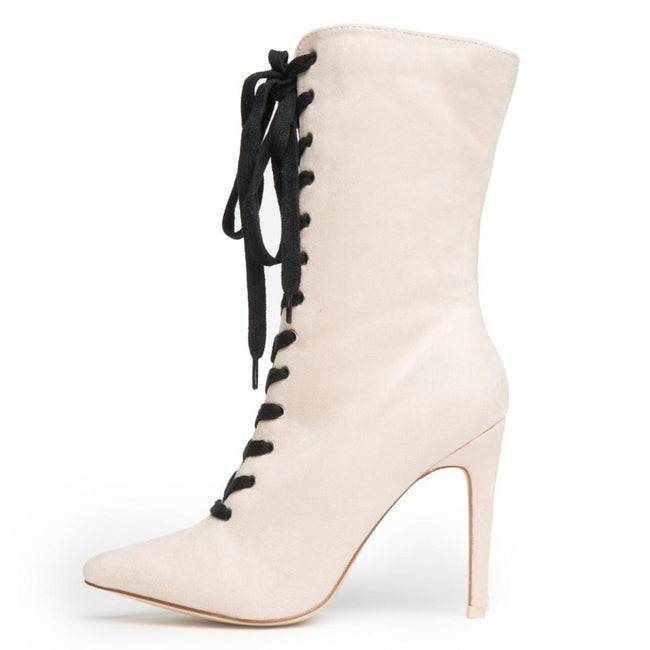 Nude Lace Up Pointed Toe Booties