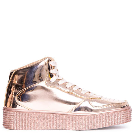 Tan Mesh Trim Jeweled Straps Lug Sole Platform Sneaker