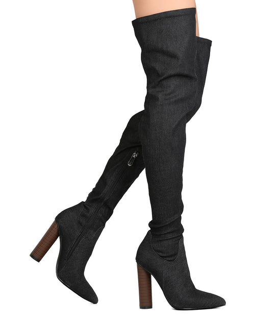 Black Denim Chunky Thigh High Boot