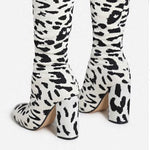 White Leopard Print Over The Knee Chunky Heel Boot
