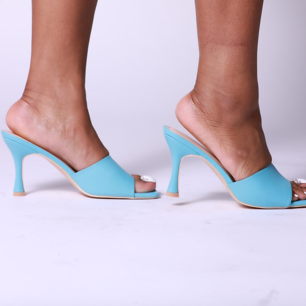 Blue Square Peep Toe Kitten Heel Mule