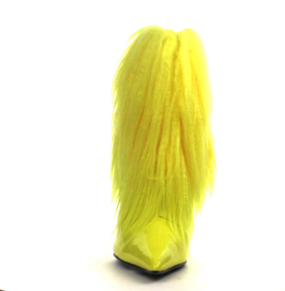 Yellow Short Fur Fringed Ankle Heel Boots