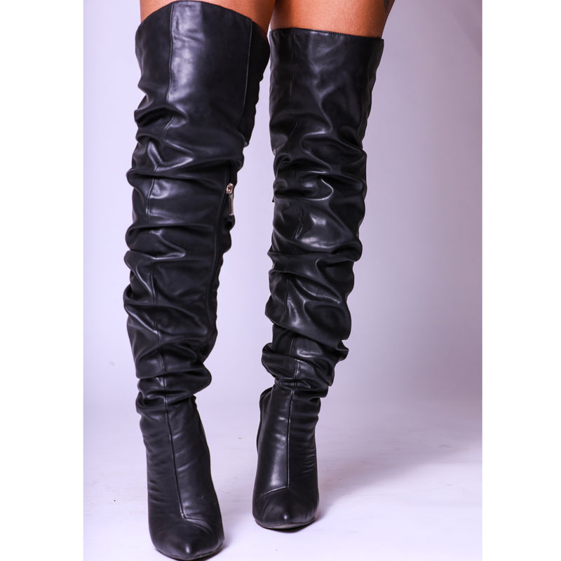 Black Ruched Thigh High Thick Heel Boots