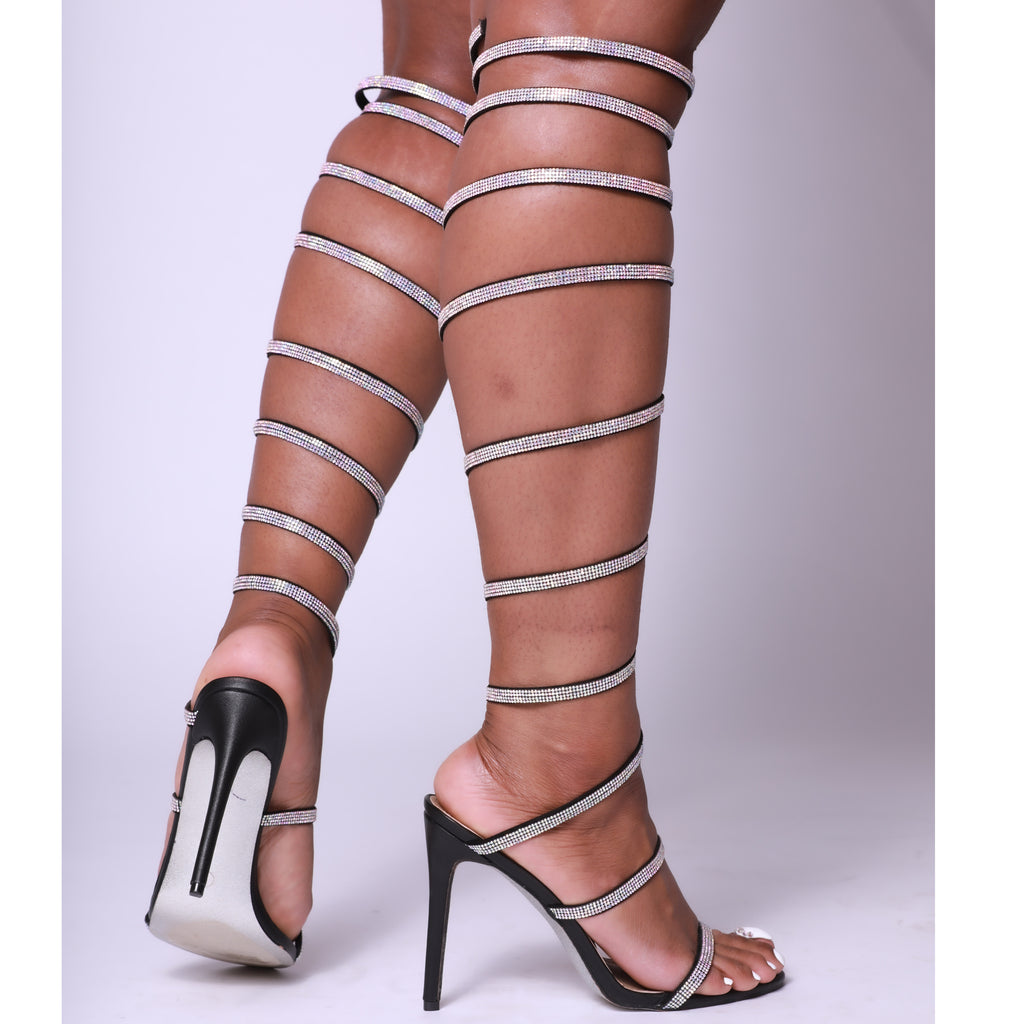 Black Diamante Thigh High Spiral Single Sole Heels