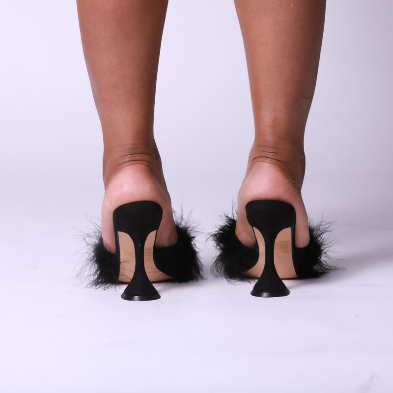Black Faux Feather Pointed Toe Pyramid Heel Mule