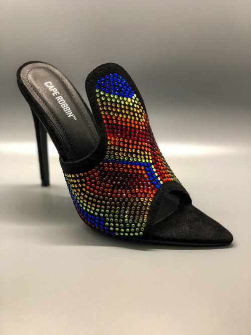 Black Multi Color Rhinestone Open Toe Mule Heels