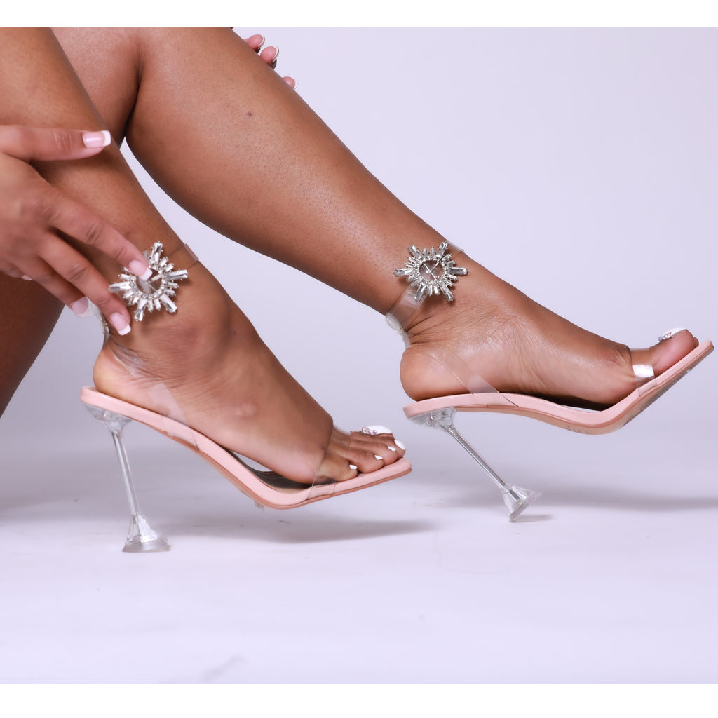 Nude Square Toe Diamanté Detail Clear Perspex Pyramid Heel