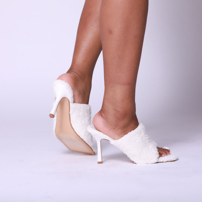 White Cozy Square Peep Toe Mule Heel