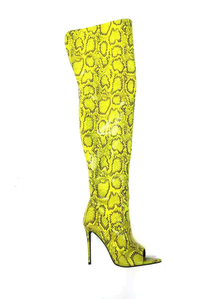 Snakeskin Print Thigh High Open Toe Boots