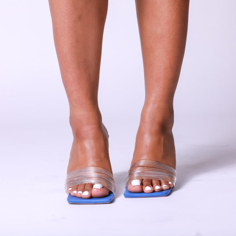 Blue Clear Heel Mule Sandals