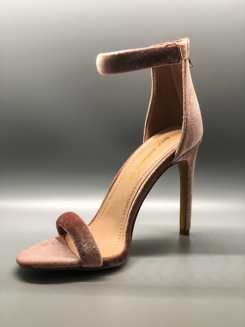 Mauve Velvet Single Sole Ankle Strap Heels