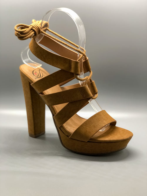 Tan Lace-Up Platform Chunky Heels
