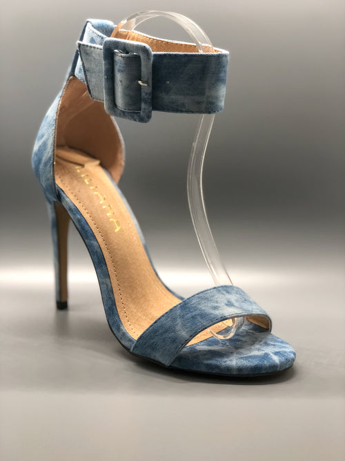 Blue Washed Denim Ankle Strap Heel