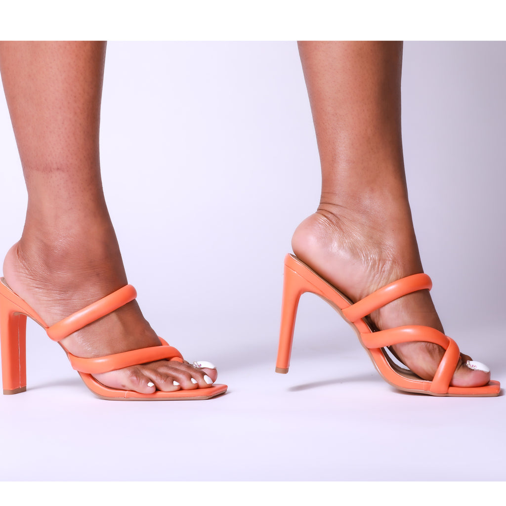 Orange Padded Strappy Thick Block Square Toe Mule Heels
