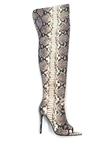 Snakeskin Peep Toe Thigh High Heel Boots