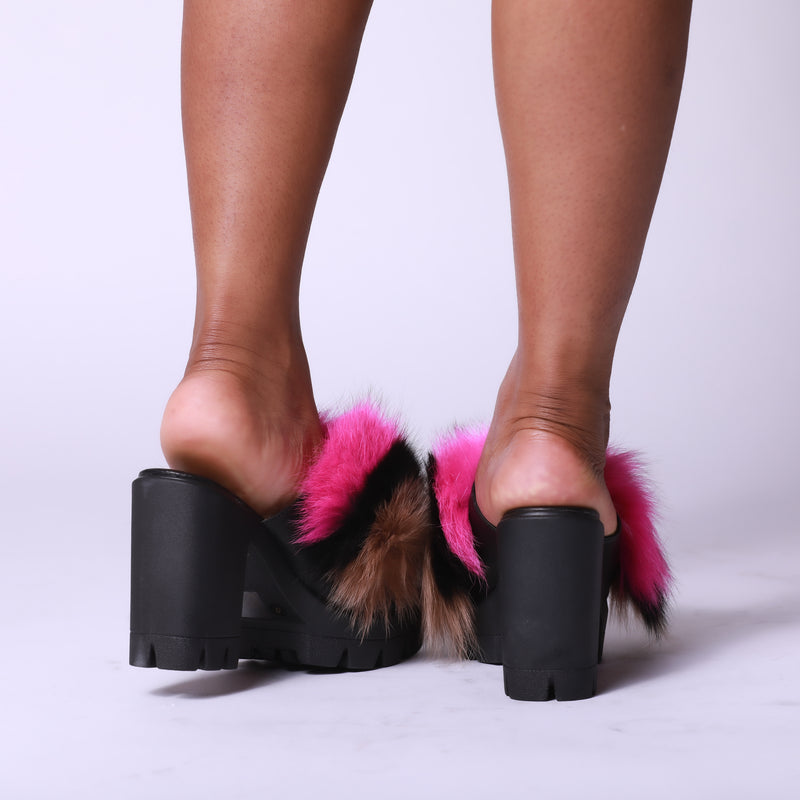 All That Sass Fur Platform Mule