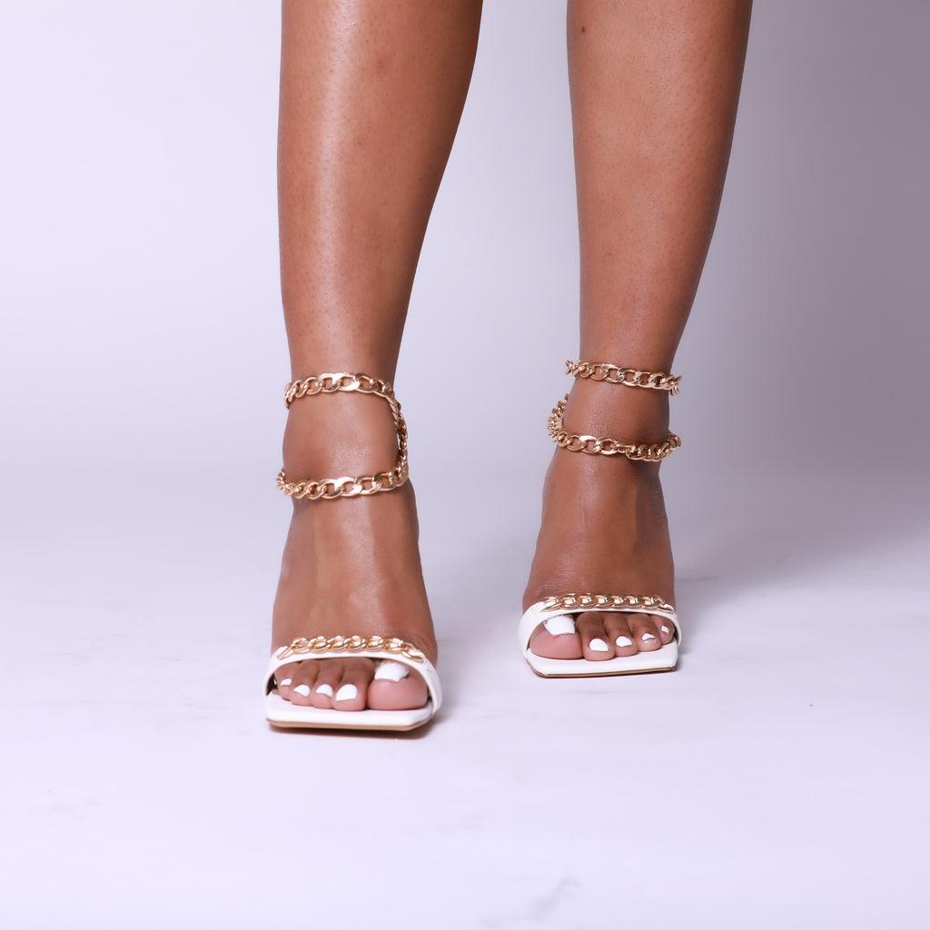 White Chain Detail Strap Square Toe Heel
