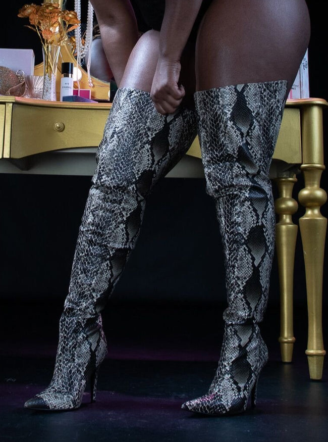 Snakeskin Print Thigh High Rise Stiletto Boot