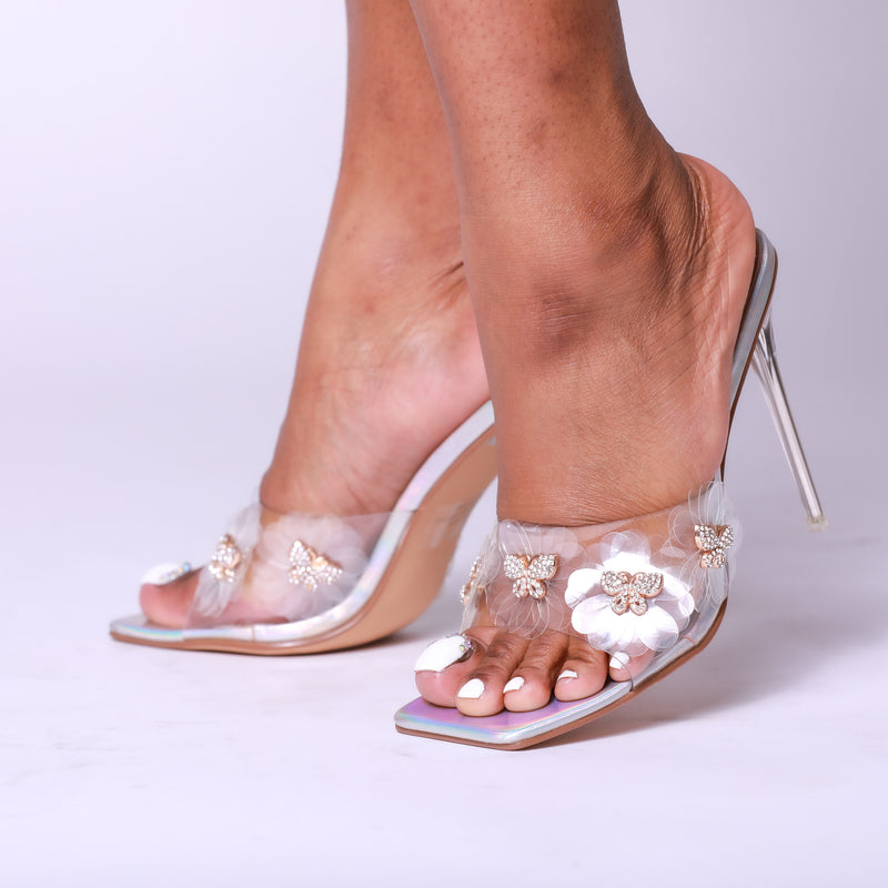 Holo Diamond Butterfly Detail Square Peep Toe Heel Clear Mule