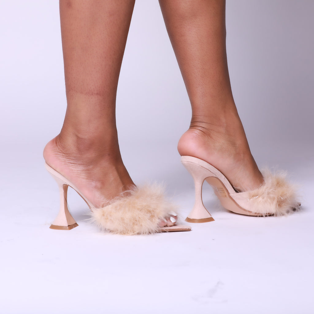 Nude Faux Feather Pointed Toe Pyramid Heel Mule