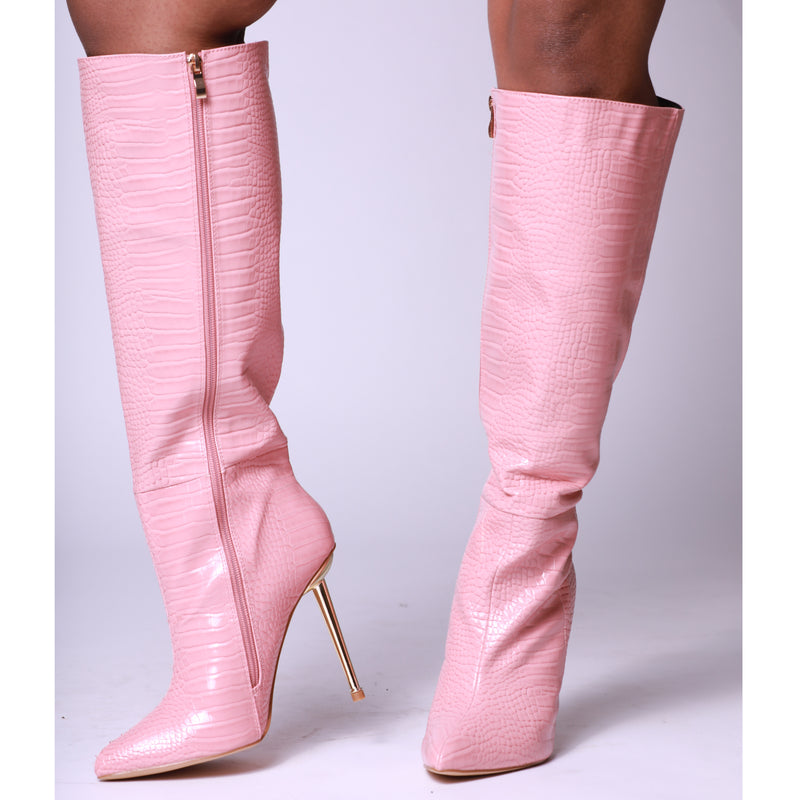 Pink Croc Print Faux Leather Metallic Heel Knee High Long Boots
