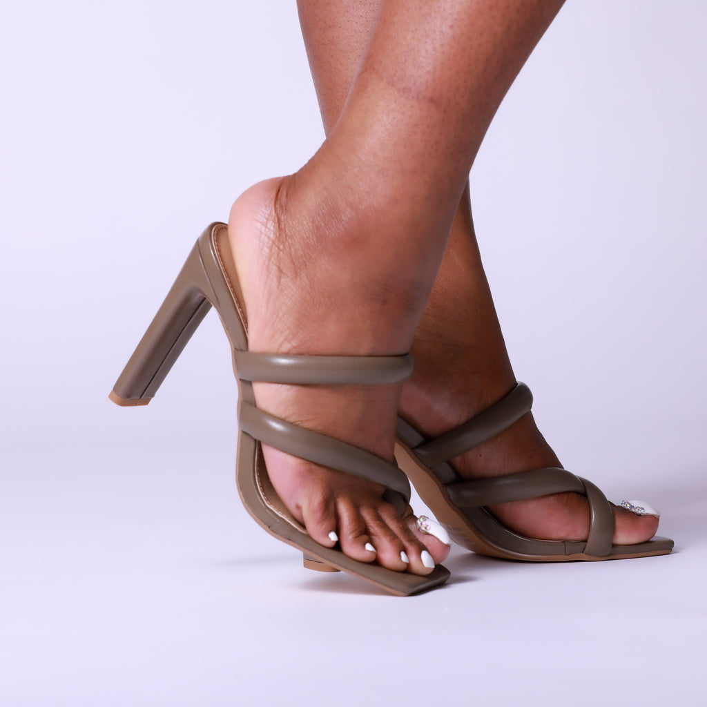 Khaki Padded Strappy Thick Block Square Toe Mule Heels