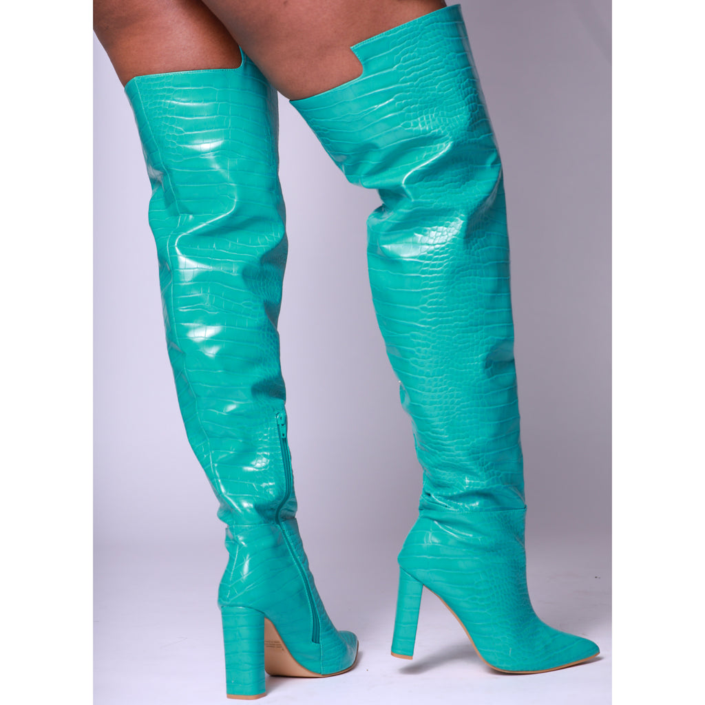 Turquoise Croc Print Block Heel Thigh High Boot