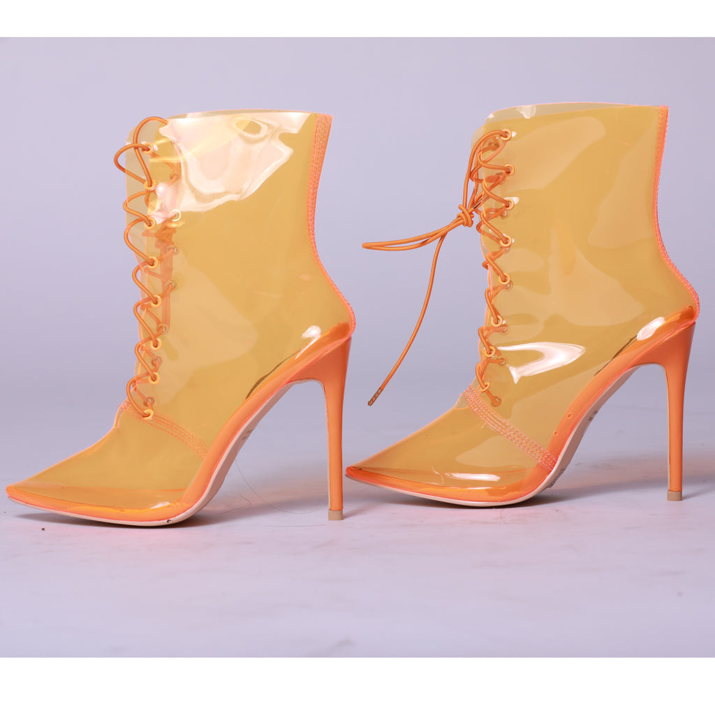 Orange Perspex Clear Lace Up Stiletto Booties