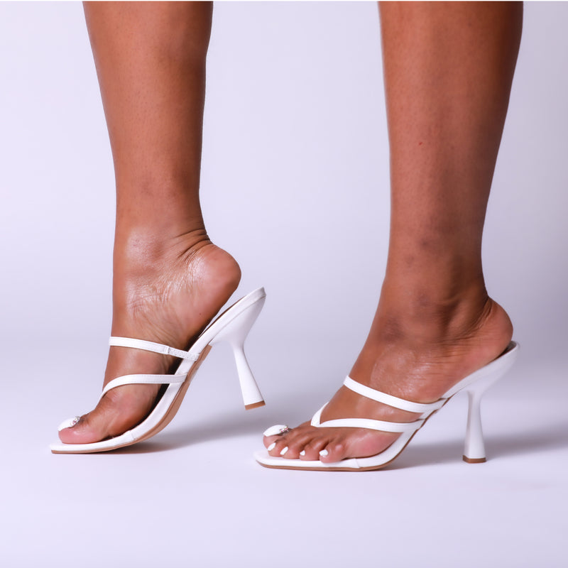 White Square Toe Thong High Heel Mule Sandals