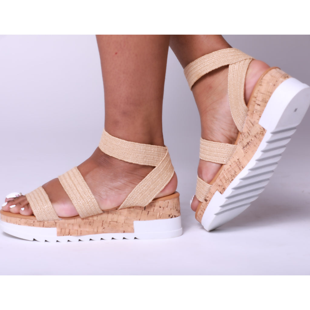Nude Woven Chunky Sole Platform Flat Sandal