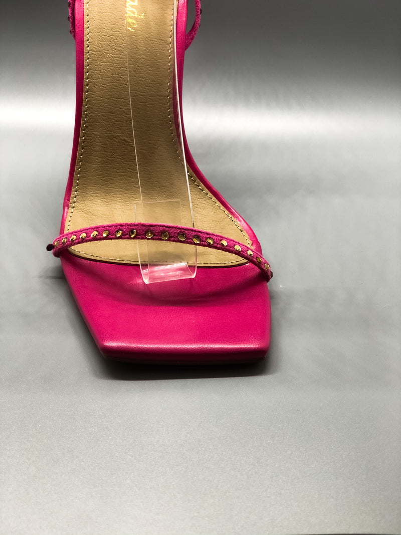 Pink Diamante Detail Lace Up Square Toe Pyramid Heel
