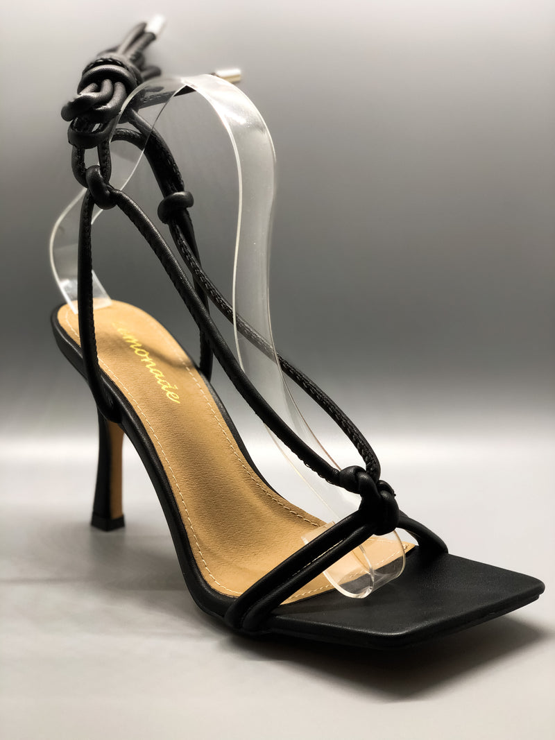 Black Square Toe Lace Up Heel