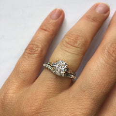 Torsa pave engagement ring with curved baguette and brilliant cut wedding band