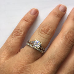 Torsa pave engagement ring with Eorsa eternity band