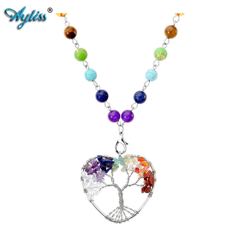 Chakra Stone Tree of life Wrapped Pendant with Stone Necklace