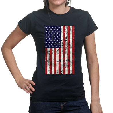 Distressed American Flag Women's T-Shirt - Fretshirt.com