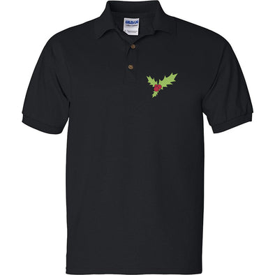 Christmas Holly Embroidered Polo Shirt, [product_type) - Fretshirt.com
