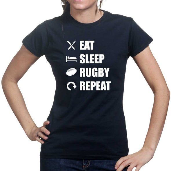 Eat Sleep Rugby Repeat Women's T-Shirt - Fretshirt.com