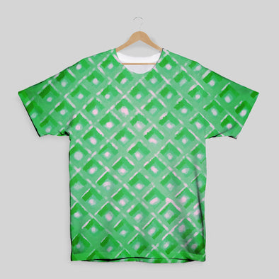 The Waffleverse - Green Waffle All Over Print T-Shirt