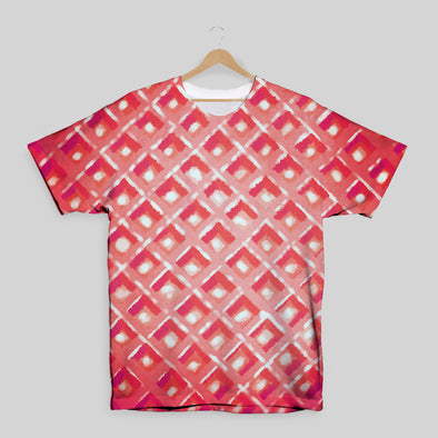 The Waffleverse - Red Waffle All Over Print T-Shirt