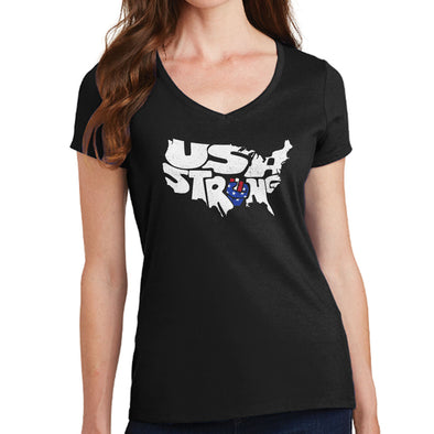 USA Strong Ladies V-Neck T-shirt