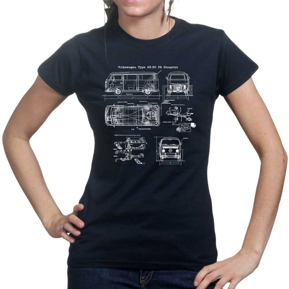 VW Type 23-50 Bus Blueprint Women's T-Shirt - Fretshirt.com