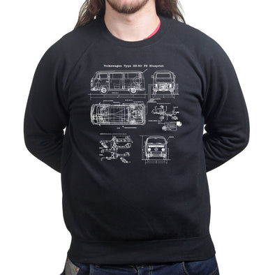 VW Type 23-50 Bus Blueprint Sweatshirt - Fretshirt.com