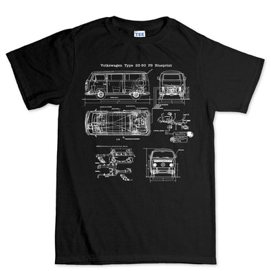 VW Type 23-50 Bus Blueprint T-Shirt - Fretshirt.com