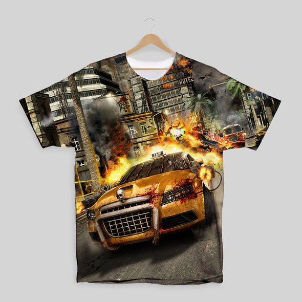 Zombie Driver - Taxi Chase All Over Print T-shirt, [product_type) - Fretshirt.com