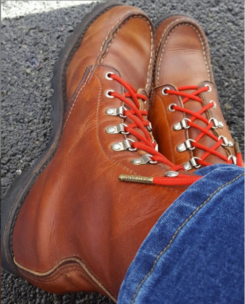 Red Boot Laces with Antique Bronze Boot Laces from Mad Dog Laces