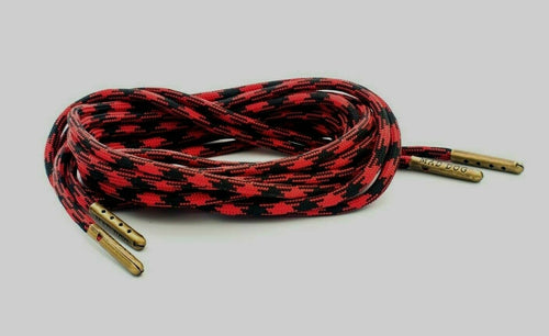 Black and Red Boot Laces *Guaranteed for Life* 550 Paracord Steel Tip - Mad Dog Laces