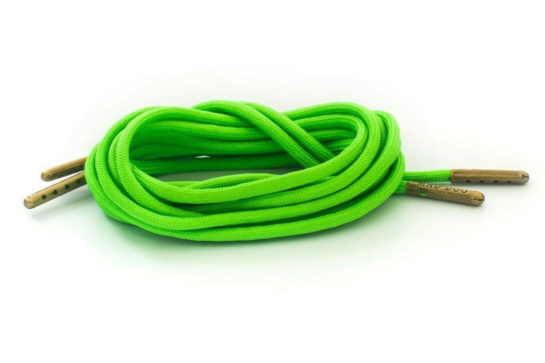 Neon Green Boot Laces *Guaranteed for Life* 550 Paracord Steel Tip - Mad Dog Laces