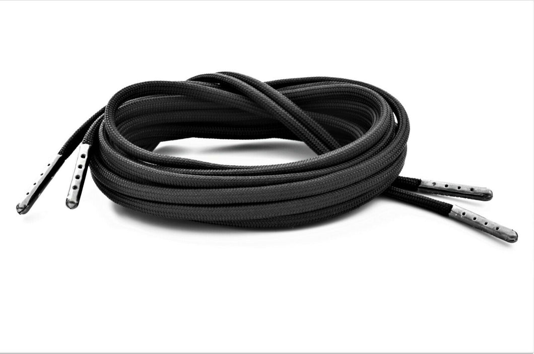 Black Boot Laces *Guaranteed for Life* 550 Paracord Steel Tip Shoelaces - Mad Dog Laces