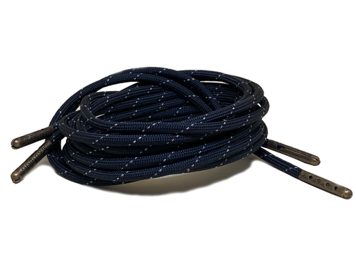 Black Reflective Boot Laces 550 Paracord Steel Tip